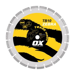 "Ox TB10 Zebra 350mm/14"" Segmented Diamond Blade - Abrasive - Rodgers Building and Landscaping Supplies"